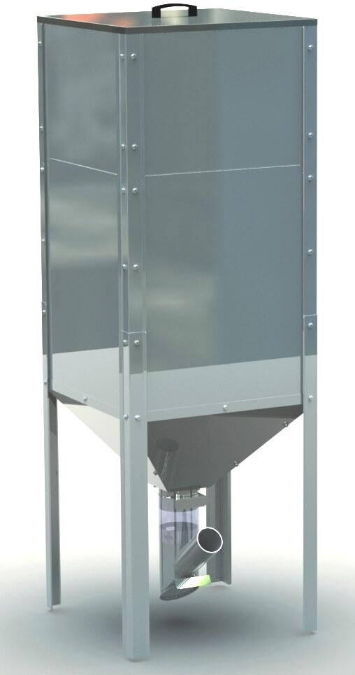Granulių konteineris, 450 l, 625x625x1825 mm